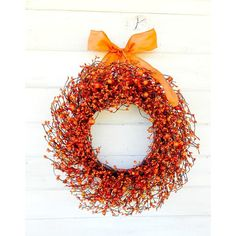 Fall Wreath-Fall Home Decor-Pumpkin Spice-Scented Wreath-Thanksgiving... ($65) ❤ liked on Polyvore featuring home, home decor, home fragrance, home & living, home décor, red, wall décor, wall hangings, fall outdoor wreaths and outdoor wreaths