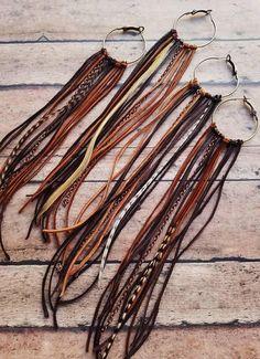 Brass Hoop Earrings / Burning Man / Festival Jewelry / Leather Jewelry / Boho Style / Hippie / Bohemian Earrings / Dangle Earrings - Famous Last Words Hippie Bohemian, Hippie Style, Hippie Chic, Boho Style, Man Style, Boho Jewelry, Jewelry Crafts, Beaded Jewelry, Jewelry Ideas