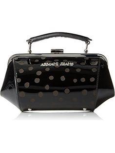 Armani Jeans Polka Dot Eco Patent Leather Clutch Bag, Black ❤ Armani Jeans