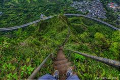"""The """"Ha'iku Stairs"""" aka """"The Stairway to Heaven,"""" windward O'ahu. Haven't tried it yet. Probably won't after seeing this view."""