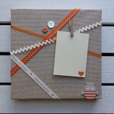 Cadre photo pêle-mêle lin et orange