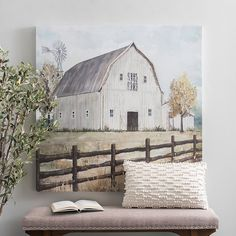 Our Country Scene Canvas Art Print paints a picture of simple times with its grassy field and solo barn. You'll love this farm fresh touch in your rustic decor. Farmhouse Paintings, Country Paintings, Country Canvas Art, Country Wall Art, Rustic Painting, Rustic Artwork, Tole Painting, Cow Canvas, Barn Pictures