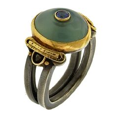 Michael Boyd, ring, silica, chrysacolla, chalcedony, sapphire, sterling, gold, diamond beads