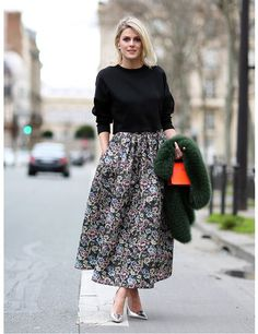 Jumper & full skirt combo inspiration | Best of AW14 Street Style | ELLE UK