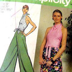 1970s Simplicity 5305 / Misses Halter Top Wide by SelvedgeShop