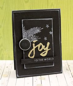 Chalkboard Joy to the World Card for World Card Making Day 2014 featuring Essentials by Ellen dies and stamps