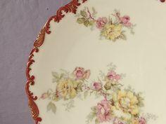 antique TV Limoges France plate, red gold plate, cabinet plate, shabby chic cottage decor, Paris apartment, antique porcelain