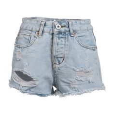 ACEVOG Fashion Women High Waist Hole Ripped Denim Shorts Casual Loose... (21 CAD) ❤ liked on Polyvore