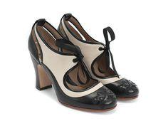 Fluevog Shoes | Shop | Revelation (Black & Beige) | Vintage Lace-Up Mary Jane Heel