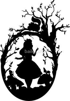 'Silhouette – Alice In Wonderland' Sticker by Silhouette – Alice In Wonderland by – Disney Crafts Ideas Silhouettes Disney, Disney Silhouette Art, Silhouette Cameo, Vintage Silhouette, Alice In Wonderland Silhouette, Alice In Wonderland Party, Tattoo Alice In Wonderland, Outdoor Stickers, Camping Activities