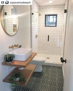 What day you love most about this bathroom renovation by Only down side is that it's a guest bathroom and your guest may… Small Bathroom Layout, Small Bathroom With Shower, Tiny House Bathroom, Tiny Bathrooms, Bathroom Design Luxury, Home Interior Design, Ideas Baños, Beautiful Bathrooms, Bathroom Renovations