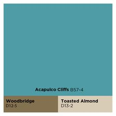 The Olympic September Paint Color of the Month is Acapulco Cliffs aqua blue works well with coordinating paint colors Woodbridge brown and Toasted Almond beige. Find these hues and other Olympic Paint colors at Lowe's Home Improvement.