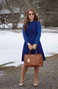 Happy Medley: Ralph Lauren Brown tote, navy dress, winter dressy, fall outfit,