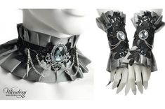 Silver gray fabic jewelry set Ruffle choker necklace by Vilindery