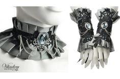 Silver gray fabic jewelry set - Ruffle choker necklace, Fantasy cuff bracelet…