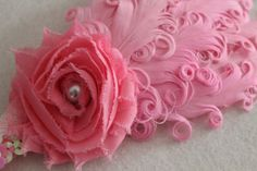 Baby Headband Photo Prop Feather and Chiffon Flower by JennCannon, $14.99