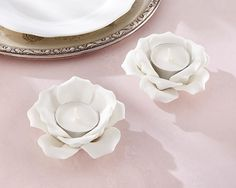 We just love the simplicity and elegance of these White Ceramic Rose Tea Light Holder Candle Favors! These are the perfect addition to a garden tea party. Candle Wedding Favors, Candle Favors, Candle Holders, Tea Light Candles, Tea Lights, Ceramic Sculpture Figurative, Diy Diwali Decorations, Garden Decorations, Elegant Table Settings