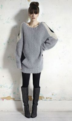 huge sweater + leggings + boots + ballerina top-knot = love!
