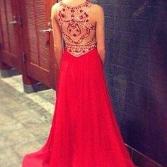 Pretty High Quality Red Chiffon Beadings Prom Gown 2016, Prom Dresses 2016, Red Evening Gowns, Red Prom Dresses