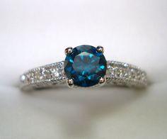14K White Gold Blue & White Diamonds Engagement  by JewelryByGaro, $950.00
