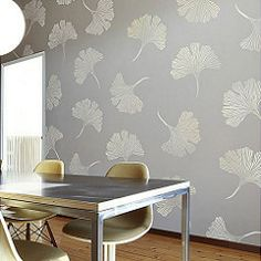 Chinese Ginkgo Wall Stencil - Floral Stencils for Walls - Flower Stencil Designs - Reusable Stencil for Painting Walls and Floors - Try Stencil Instead of Wallpaper and Save Lots on Room Makeover Large Wall Stencil, Stencil Wall Art, Leaf Stencil, Stencil Painting On Walls, Large Stencils, Stencil Diy, Tile Stencils, Damask Stencil, Faux Painting
