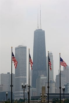 Chicago is proud to display the American flag.