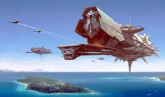Sci-Fi Battle Space Ship Wallpaper - 1920 x Impressive digital painting of a enormous battle space ship flying over a futuristic city island. Spaceship Art, Spaceship Design, Space Fantasy, Sci Fi Fantasy, Concept Ships, Concept Art, Starship Concept, Sci Fi Ships, Science Fiction Art