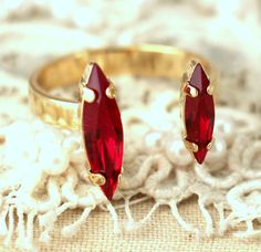 Ruby Crystal Swarovski Dual ring Ruby Red Crystal Ring Ruby Crystal, Crystal Ring, Crystal Earrings, Bridesmaid Earrings, Bridal Earrings, Bridal Jewelry, Fashion Earrings, Fashion Jewelry, Ruby Wedding