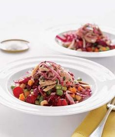 Tuna Chopped Salad Marinated red onions lend tart crunch to this vegetable-packed meal.