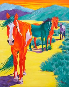 Mustang Sunset Limited Edition Giclee Print by SusanMonty