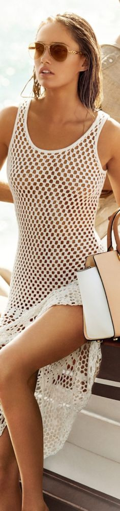 Michael Kors Sleeveless Crochet Dress shown in White | House of Beccaria~