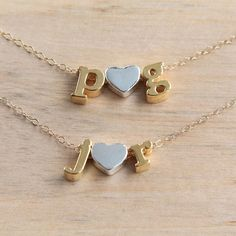 c8da336c4792 Personalized Initial Necklace Couple initials Necklace Heart