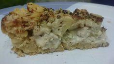 Quiche fake! Massa de grão de bico, recheado com frango, alho poró, palmito, champignon e nata sem lactose!
