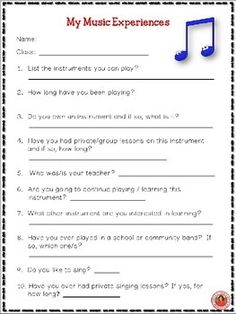 First Day Music Student Information Sheets!    #musedchat      #musiceducation
