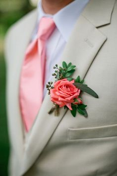 Even the groom is crazy for coral!