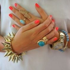 41 Ideas For Nails Coral Korall Coral Nails, Red Nails, Hair And Nails, Orange Nails, Jewelry Accessories, Fashion Accessories, Fashion Jewelry, Jewelry Rings, Fine Jewelry