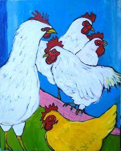 Chickens, X original folk art painting on canvas, 5 chickens via Etsy Folk Art Acrylic Paint, Acrylic Painting Canvas, Canvas Art, Animal Paintings, Wood Paintings, Chicken Art, Ceramic Animals, Window Art, Elementary Art