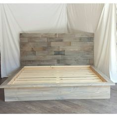 Steph Grey Driftwood Finished Platform Bed With Horizontal Staggered... ($730) ❤ liked on Polyvore featuring home, furniture, beds, bedroom furniture, beds & headboards, home & living, red, twin headboards, king size platform bed and king size headboard