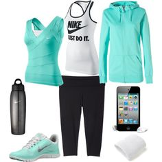 I work out!   (Nike workout, created by laura-ashley-1 on Polyvore) it's mintttt :))