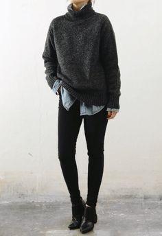 Layers | Simple | Neutrals #sweaterweather #fallwardrobe #winterwardrobe #ankleboots #turtleneck #buttonup #allblackeverything
