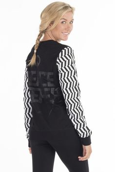 Make that statement in ilabb's Amity crew. Featuring boldly printed sleeves and an easy pull-over cut, and you'll want to rock this for all your outdoor activity. Crew Sweatshirts, Tomboy, Activewear, Vest, Workout, Sleeves, Cotton, Jackets, Collection