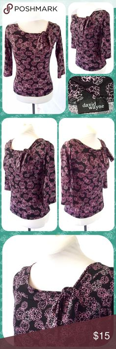 """Petites Pink Floral Bow Neck Career Top Size S Cute polyester blend career blouse with a pink floral print on black background. Asymmetrical bateau neck with a bow on the left side. Stretches throughout. No longer has size tag but measures as a Petites Size S or 4/6. Measures 17"""" across the chest and 20.5"""" in length. Pretty blouse!        Bundle 2 or More Items and Save 15% Off Automatically! David Wayne Tops Blouses"""