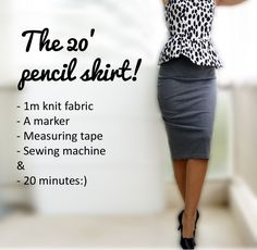 Wardrobe Recycle: Knit Pencil Skirt Tutorial - page is in Russian, but pictures have english on them. Google Translate FTW.