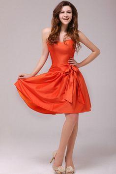 Modern Orange Taffeta Bridesmaids Gowns - Order Link: http://www.theweddingdresses.com/modern-orange-taffeta-bridesmaids-gowns-twdn2830.html - Embellishments: Bowknot; Length: Knee Length; Fabric: Taffeta; Waist: Natural - Price: 94.91USD