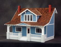 The Classic Bungalow Dollhouse Kit offers traditional craftsman style. This warm and inviting home offers a gorgeous front porch with swing, five interior rooms, spacious attic and a surplus of authen