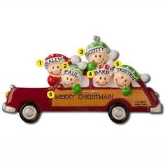 Holiday Car With Faces Of 5 Personalized Christmas Ornament