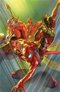 Marvel Comics Releasing Avengers # 1 - Cover by Alex Ross Captain Marvel, Captain America, Marvel Now, Marvel Comics Art, Marvel Heroes, Cosmic Comics, Thor Marvel, Alex Ross, Comic Book Characters