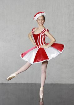 "PEPPERMINT TWIST - Cheerful candy cane look! Our ""Flexi Fit"" classical ballet bodice leotard in striped spandex with sparkling sequin insert and back zipper closure. 8 layer tutu has lace panty, 2 tone satin plate with ruffled ribbon trim and striped basque. Adorable headpiece included. Simply DELIGHTFUL! Made in sizes child medium thru adult."