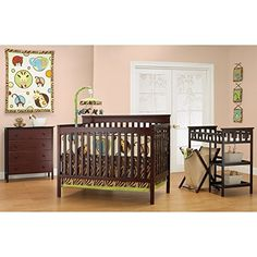 Baby Mod - Bella 4-in-1 Fixed Side Crib, Changing Table and Clothing Organizer, Espresso - http://activelivingessentials.com/baby-essentials/nursery-furniture/baby-mod-bella-4-in-1-fixed-side-crib-changing-table-and-clothing-organizer-espresso