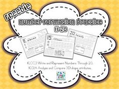 Need+materials+to+assist+struggling+students+meet+common+core+standards?  Common+Core+Standards+Addressed... K.CC.3+Write+and+Represent+Numbers+Through+20. K.G.4+Analyze+and+Compare+3D+shape+attributes.  I+created+this+freebie+to+assist+with+students+still+struggling+to+write+their+numbers.
